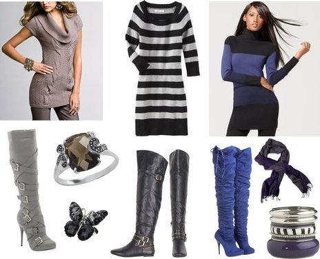 Cute Outfits with Over The Knee Boots Sweater Tunics My Vogue Trendy Cute Outfits Women Fall 2010 Clothing Reviews from my-vogue.com