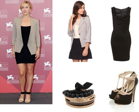 modestly fab gray blazer with a little black dress