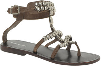 Warehouse Oval Beaded Gladiator Sandals - Ethnic Beaded Sandals
