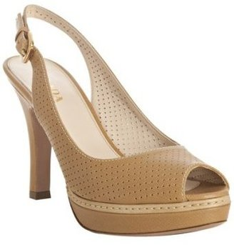 Prada tan perforated saffiano platform slingbacks - Slingbacks