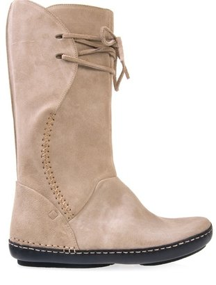 SHOFOLK - Tall beige suede boots - Moccasins