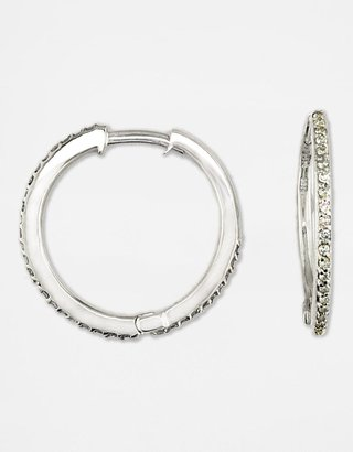 Effy Collection 14K White Gold Diamond Pavé Hoop Earrings - Lord & Taylor