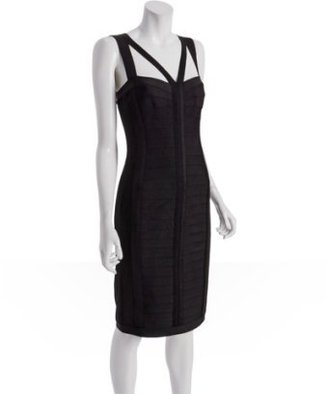Tadashi Shoji black bandage knit strap detail dress - Bodacious Bandage Dresses