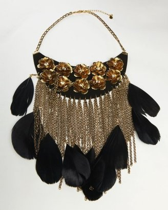 Feather Bib Chain Necklace - Statement Necklace