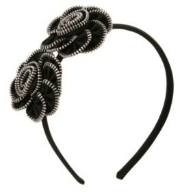 Black Zipper Rosette Headband - Torrid