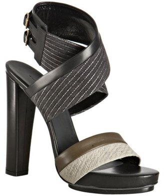 Balenciaga black pinstriped leather trim ankle wrapped sandals - Balenciaga