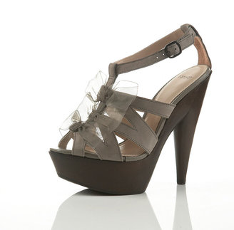 LORNA Bow And Wood Platforms - Platform Sandals