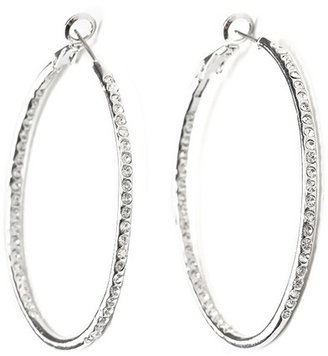 Ccc Large Rhinestone Hoops - Hoop Earrings