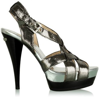 Michael by Michael Kors Silver Nikki Metallic Cross Strap Platform - Heels
