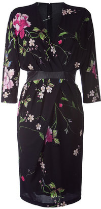Roberto Cavalli Black Flower Printed Waisted Dress - Print Dress