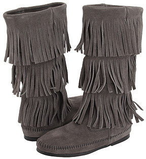 Minnetonka - Calf Hi 3-Layer Fringe Boot (Grey Suede) - Moccasins