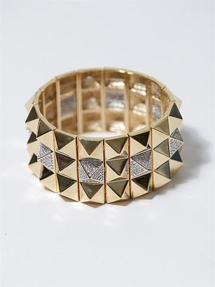 nOir, Stetch Pyramid Partial Pave Bracelet, Gold - The Best of Noir Jewelry