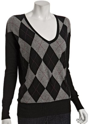 Hayden black cashmere argyle boyfriend sweater - Argyle Sweaters