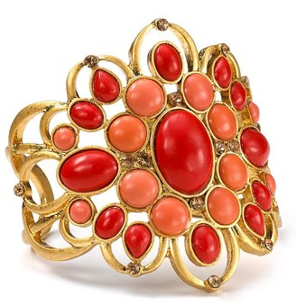 Carolee LUX Ornate Coral Gold Cuff - Jewelry