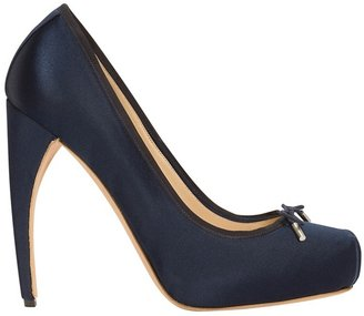 Navy Heeled Ballet Pump - Heels