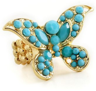 Carol dauplaise turquoise butterfly stretch ring buy 2 &amp; save! - Butterfly Ring