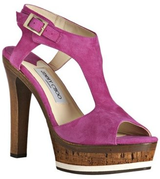 Jimmy Choo fuchsia suede &#39;Nixon&#39; platform sandals - Platform Sandals
