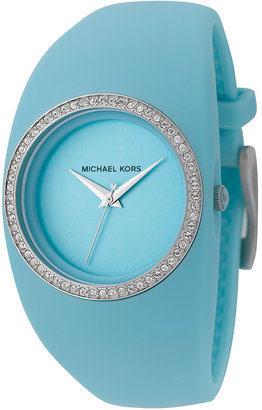 Michael Kors Crystal Rim Silicone Cuff Watch - Funky Colored Watches