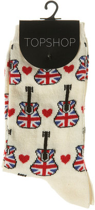 Union Jack Guitar Ankle Socks - Pajamas &amp; Intimates