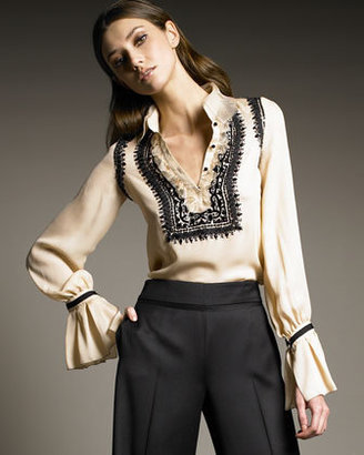 Oscar de la Renta Embroidered Silk Blouse - Clothes