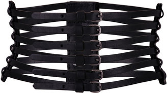 McQ Alexander McQueen Black Multi Cross Waisted Leather Belt - Oversized Belt
