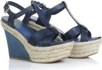 Miu Miu Strappy Leather Espadrille Wedges - Heels