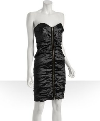 Nicole Miller steel ruched metal zip front strapless dress - Strapless Dress