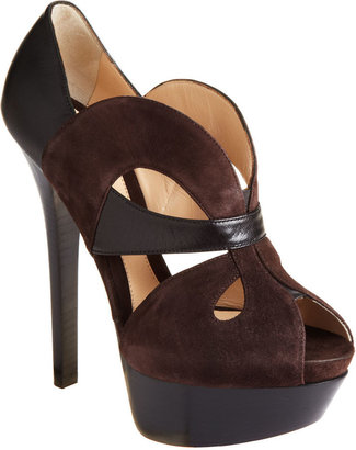 Fendi Cut-Out Platform Pump - Dark Brown - Heels