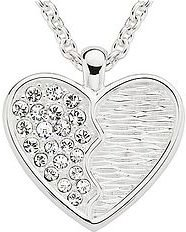 Sterling Silver Crystal Heart Pendant w/Chain - Sterling Silver Heart Necklaces
