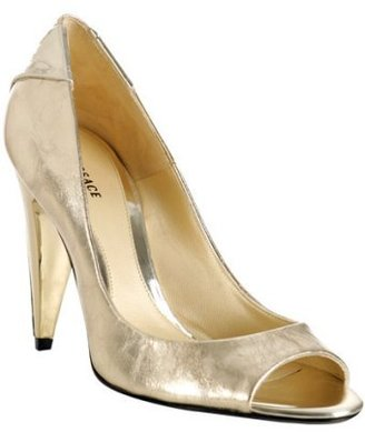 Versace gold metallic leather peep toe pumps - Peep Toe Pumps