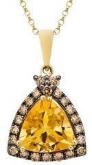 1 3/4 Carat Citrine &amp; Brown Diamond 14K Yellow Gold Pendant w/ Chain - Jewelry
