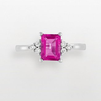 10k White Gold 1/10-Ct. T.w. Diamond &amp; Pink Topaz Ring - Kohl&#39;s