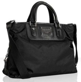 Dolce &amp; Gabbana black nylon leather trim medium zip tote - Handbags