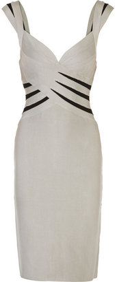 Herv Lger Stretch-bandage contrast dress - Clothes
