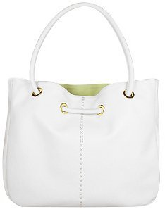 Fontanelli White Soft Leather Large Reversible Tote Bag w/Pouch - Tote Bags
