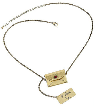 Heart Sealed Envelope Pendant - Gold Pendant Necklaces