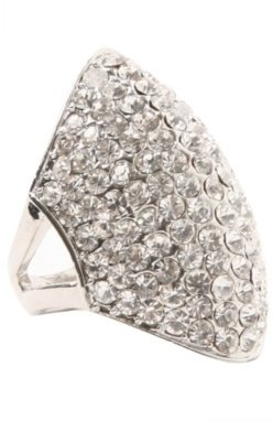 Silver Rhinestone Pav Diamond-Shaped Ring - Torrid