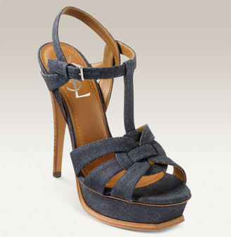 Yves Saint Laurent Denim TStrap Sandal - Heels
