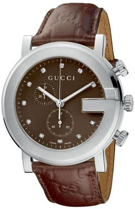 Gucci Watch, Men&#39;s G Chrono Collection Brown Leather Strap - Gucci