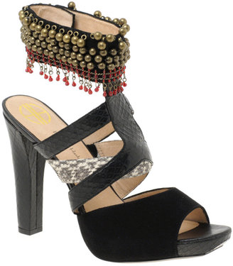 House Of Harlow Pacey Beaded Ankle Cuff Heeled Sandals - Ethnic Beaded Sandals
