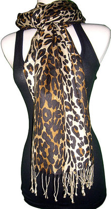 Tolani.  Silk/pashmina animal print scarf - Scarves
