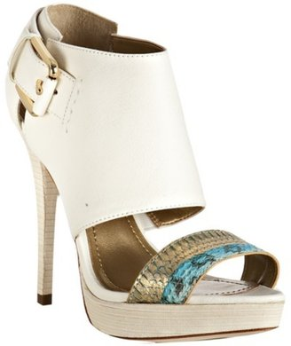 Report Signature white leather &#39;Downey3&#39; cut-out sandals - Report Signature