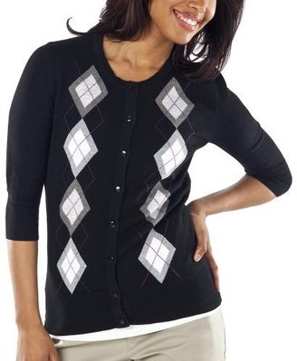 Merona Women&#39;s Essential Cardigan - Ebony Argyle - Argyle Sweaters