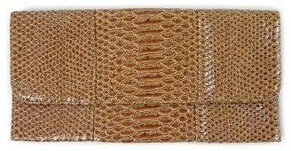 Tan Faux Snakeskin Clutch - Leather Clutch