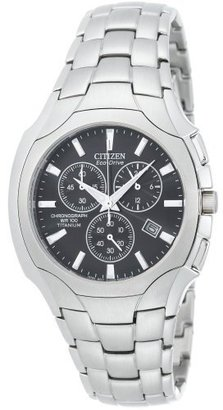 Citizen Men&#39;s AT0890-56E Eco-Drive Chronograph Titanium Black Dial Watch - Titanium Chronograph Watches 
