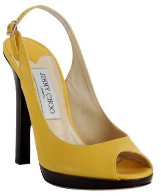 Jimmy Choo yellow leather &#39;Premier&#39; platform slingbacks - Heels