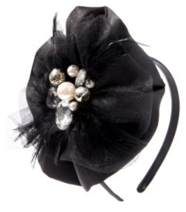 Black Satin Jeweled Feathered Cocktail Headband - Headband