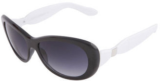 S10351 Black White - Retro Cateye Sunglasses