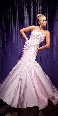 Pink Rosette Evening Gowns by Tony Bowls Paris - Princess Dresses