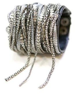 Cecilia de Bucourt Leather Snake Chain Cuff - Great Chains